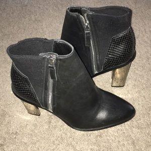 Aldo Sarasen Black Booties w Silver Block Heels